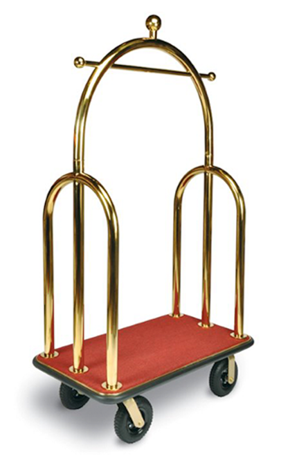 "This elegant bellman's cart will always make a great impression. The Trident Series cart features a garment bar and convenient hooks ideal for bags, purses, suites and more. 2"" tube stainless steel in attractive titanium gold finish Designed for easy elevator access Convenient hanging bar and garment hanging hooks Stain resistant red carpet 8″ black pneumatic casters, 2 swivel; 2 rigid Dimension: 77″H x 44″W x 24″D"