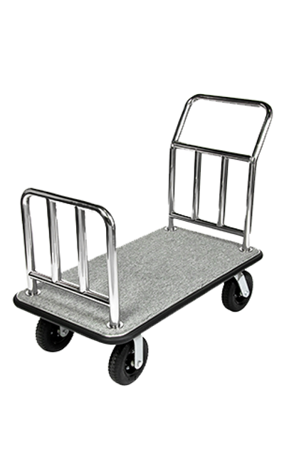 From luggage to boxes to bags, this platform cart is a great option for convention properties and meeting rooms.   Designed for easy elevator access Rust resistant 2″ diameter stainless steel handle Stain resistant gray carpet with black bumper Easy to maneuver with 2 swivel and 2 rigid 8″ black pneumatic casters Dimension: 37″H x 44″W x 24″D
