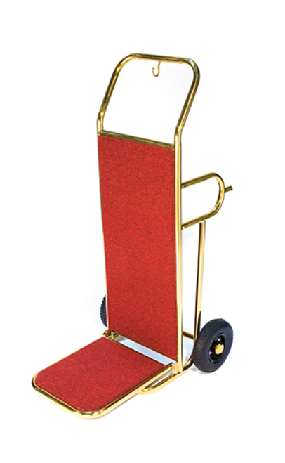 Deluxe Bellman's Hand Truck is ideal for every property.  Hoop leg design hand truck for easy load and transport of luggage Available in titanium gold with red carpet Fold up drop nose for easy storage 8″ black pneumatic casters Dimension: 48″H x 22″W x 27.5″D