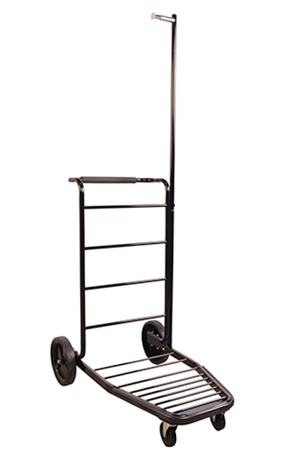 Lug-A-Bout™ Compact luggage carrier with four wheels for stability and easy maneuverability.  Easily navigates through tight lobbies, hallways and elevators Carries large or small luggage of all types, including garment bags Durable 16 gauge steel with foam handle grip Nests together for easy storage Black powder-coated finish Ships knocked down, easy to assemble. Dimension: 72.5″H x 43″W x 23″D