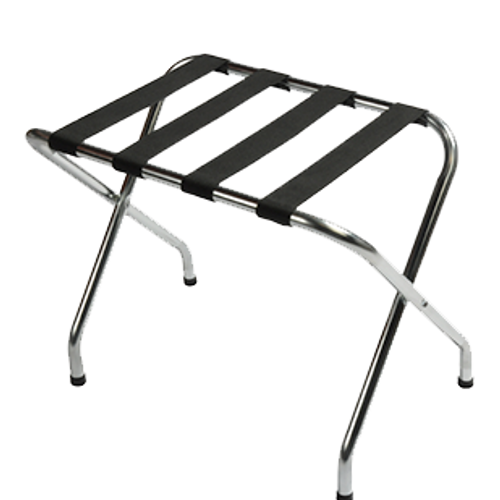 Contemporary metal luggage rack compliments any room décor.  Sturdy steel construction Washable 2 1/4″ polypropylene straps Sturdy, rivet-hinge joint Folds easily for storage Plastic non-marking feet Available finishes: Zinc, Chrome, Walnut, Black, Antique Inca Gold or Custom Size: 20″H x 16.5″D x 26″W