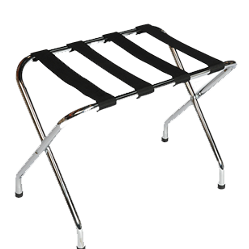 Contemporary metal luggage rack compliments any room décor.  Sturdy steel construction Washable 2 1/4″ polypropylene straps Sturdy, rivet-hinge joint Folds easily for storage Plastic non-marking feet Available finishes: Zinc, Chrome, Walnut, Black, Antique Inca Gold or Custom Available straps: Black, Silver, Brown or Custom Size: 20″H x 16.5″D x 26″W