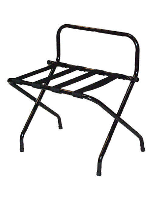 Metal High Back Contemporary metal luggage rack with high back compliments any room décor. Sturdy steel construction High back protects walls from damage Washable 2 1/4″ polypropylene straps Sturdy, rivet-hinge joint Folds easily for storage Plastic non-marking feet Size: 26.5″H x 16″D x 24.25″W