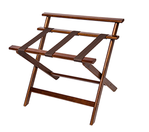 """Furniture quality hardwood construction Four extra wide straps for added strength High back protects walls from damage Sturdy rivet-hinge joint Folds easily for storage Available in walnut with brown straps Size: 22.5""""H x 18.5""""D x 26""""W"""