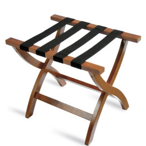 Sophisticated Premier Series luggage rack will add elegance to any room décor.   Elegant curved leg design Four extra wide straps for added strength Washable 2 1/4″ polypropylene black straps Sturdy, rivet-hinge joint Folds easily for storage Size: 19.25″H x 17″D x 23″ W