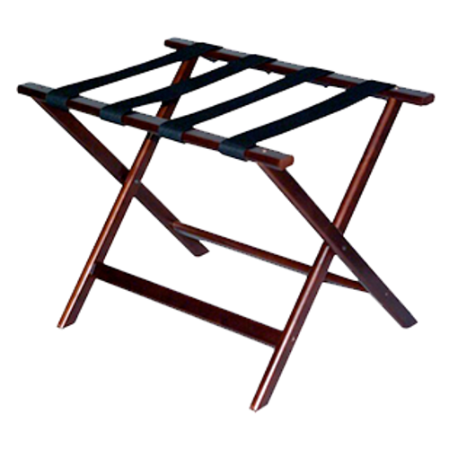 Traditional luggage rack will fit any room décor.  Durable hardwood with protective finish Four extra wide straps for added strength Washable 2 1/4″ polypropylene straps Sturdy, rivet-hinge joint Folds easily for storage Size: 19.5″H x 17″D x 26″ W