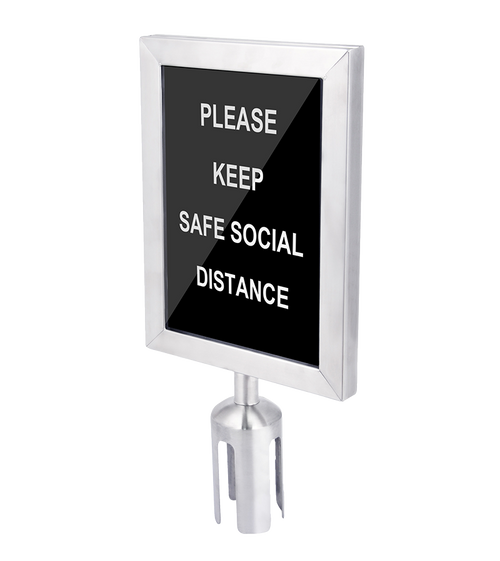 "Available in black and stainless steel finishes Double-sided sign holder with clear, protective plastic Dimensions: 8.5"" x 2.5"" x 18"""