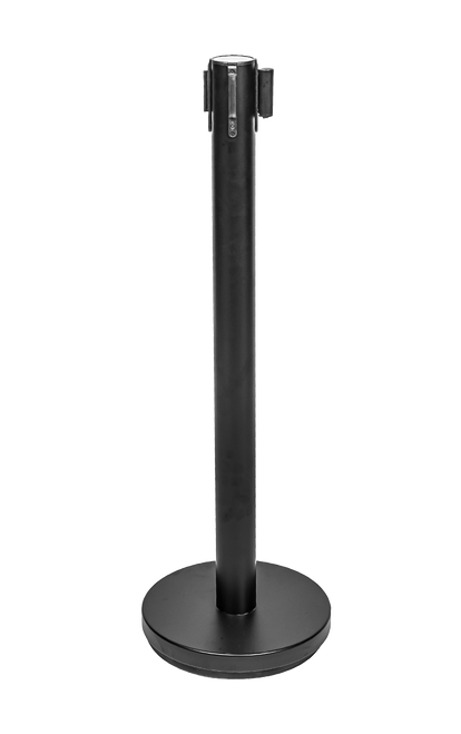 "Contemporary Crowd Control post with retractable belt is easy to maneuver and configure.   Easy to mark off 6 foot distances Free standing stanchions easy to configure for different needs Available in black and stainless steel finishes Matching post signs available Height 36"" Weight 16 lbs"