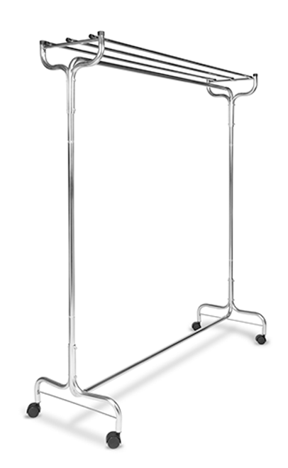 "Portable valet perfect for additional coat storage   Sturdy 1″ tube steel construction Zinc plated finish easily withstands rust Single hat rack Freewheeling casters Available in 60"" length Also available with Perma hangers"