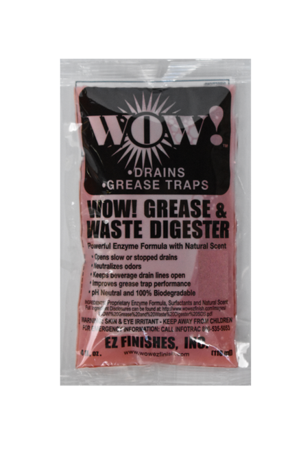 WOW Grease & Waster Digester, 4 OZ Packet, (32 Bottles / Case)