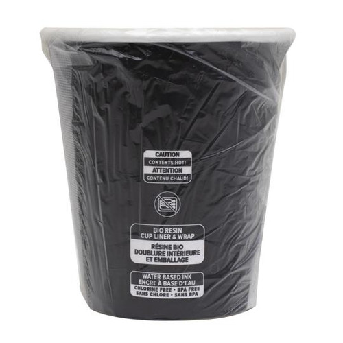 Black Bio-Wrapped & Bio-Lined Hot Cup, 10 OZ or 12 OZ (1000/Case)
