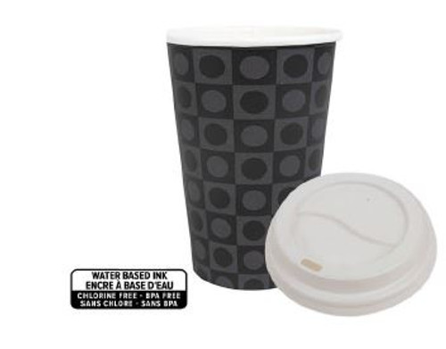 Patterned Black and Grey 10oz Hot Cup Lid 1,000/Case