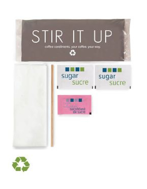 Stir it Up Recyclable Double Condiment Package (Wood Stir Stick) 500/Case