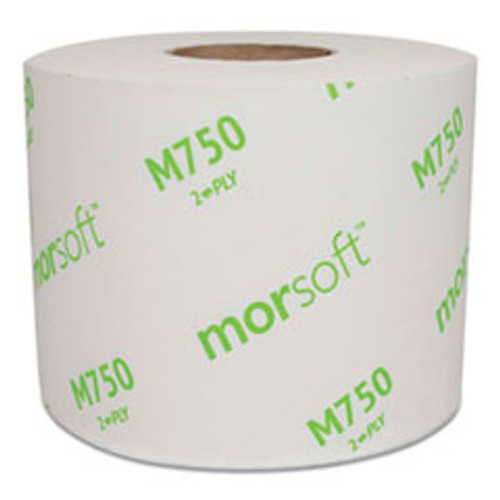 Morcon Morsoft Controlled Bath Tissue, Split-Core, Septic Safe, 2-Ply, White, Individually Wrapped, 750 Sheets Roll, 48 Rolls Carton