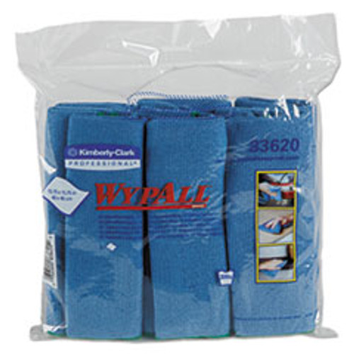 Kimberly Clark Microfiber Cloths, Reusable, 15 3.4 x 15 3.4, Blue, 24 Carton