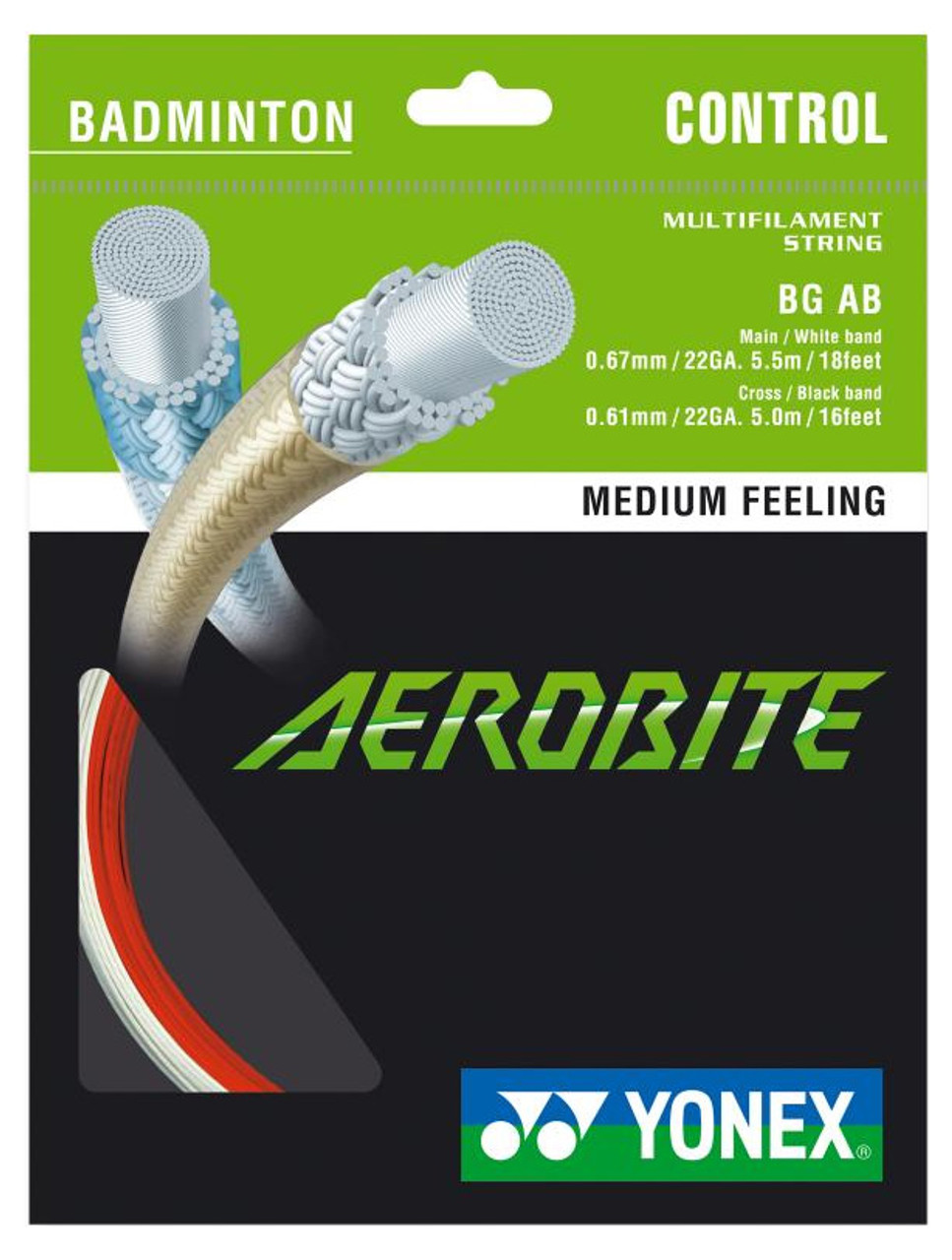 Yonex Aerobite 0.67-0.61mm Badminton Strings Hybrid Set