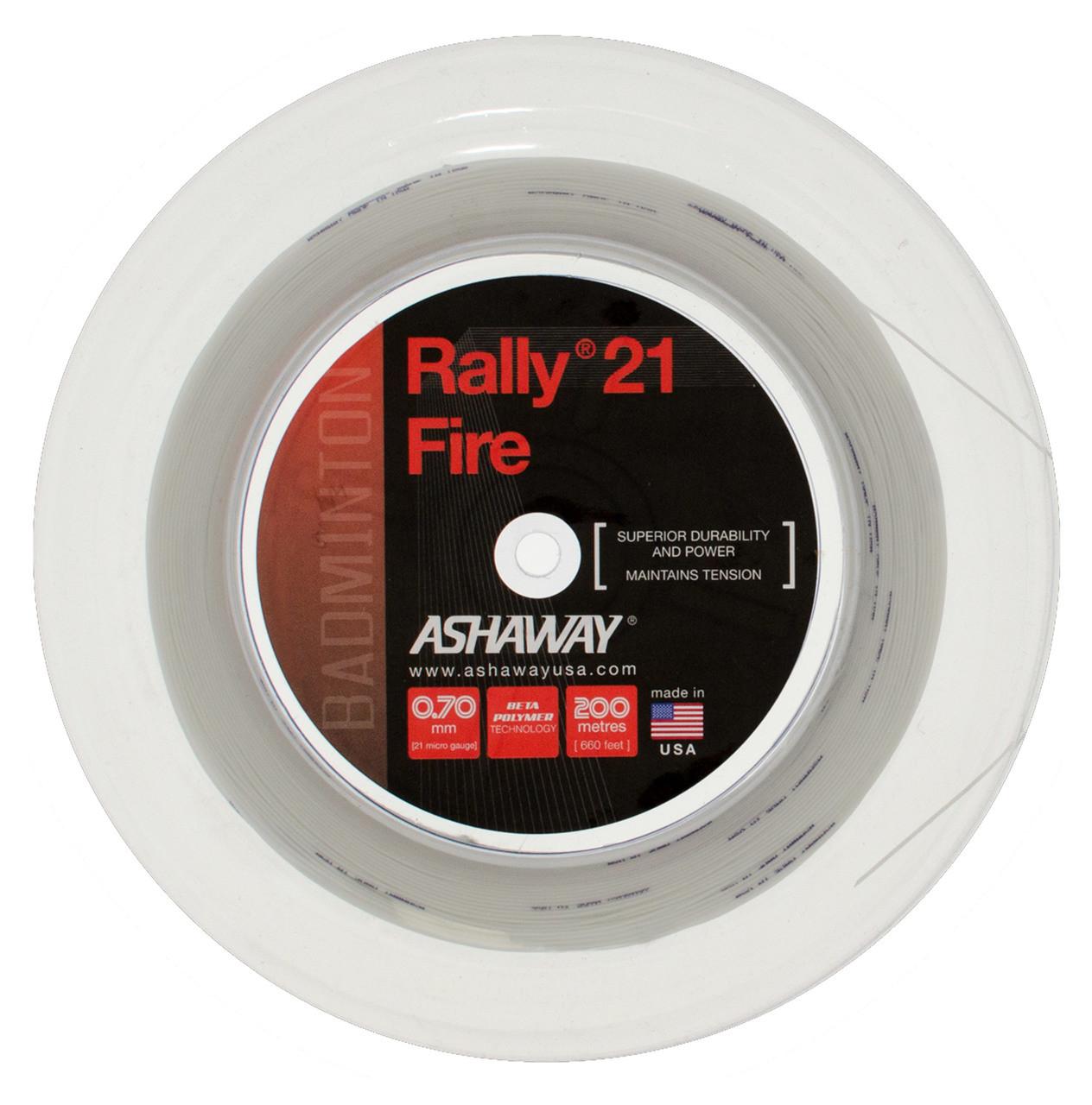 White Ashaway Rally 21/Fire badminton string set