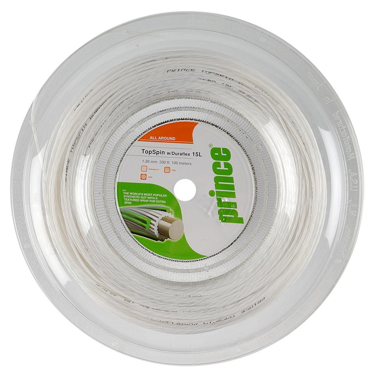 Prince Synthetic Gut with Duraflex 15l White Tennis String Reel