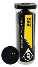 Dunlop Pro Double Yellow Dot Squash Balls 3 Pack