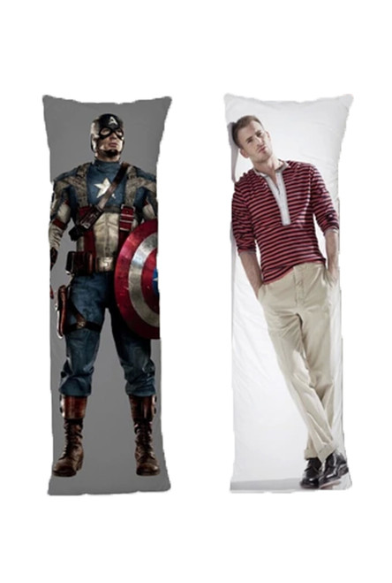Captain America One or Two Side Personalized Rectangular Body Pillows from Real Person Picture It On Canvas with Zipper