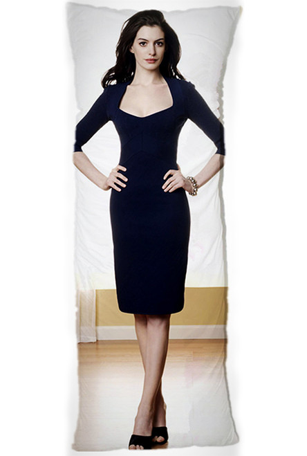 Anne Hathaway One or Two Side Personalized Rectangular Body Pillows from Real Person Picture It On Canvas with Zipper