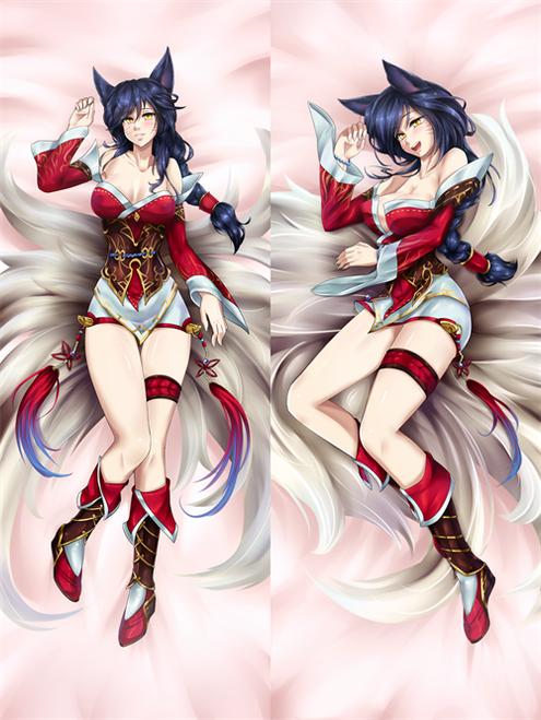 Hot Anime Game League of Legends Ahri the Nine-Tailed Fox Anime Dakimakura Pillow Cover