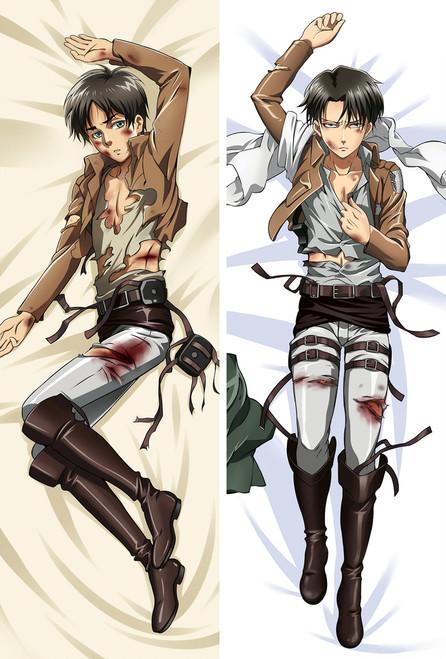 Attack on Titan Eren Yeager Levi Ackerman Anime Dakimakura Pillow Case