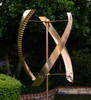 Stanwood Wind Sculpture: Kinetic Copper Triple Spinner - Standing United