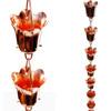 Open Box Stanwood Rain Chain - Copper Rain Chain Tulip Flower Blossom 8-ft