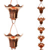 Stanwood Rain Chain - Copper Rain Chain Hummingbird and Flower - 8-ft