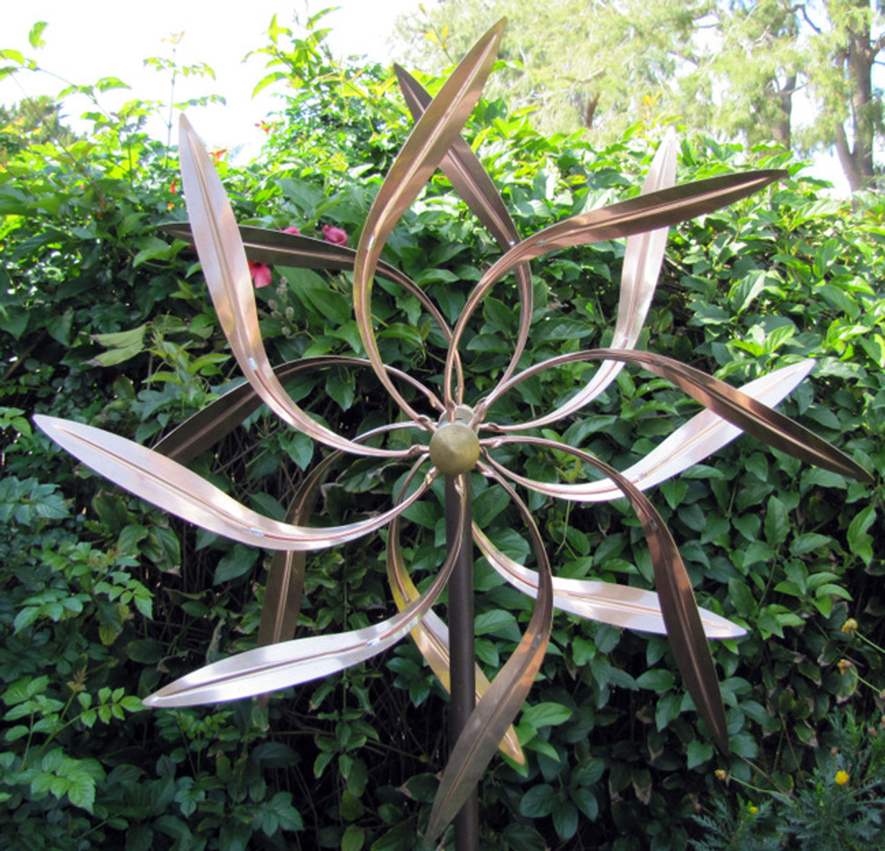 Stanwood Wind Sculpture: Kinetic Copper Dual Spinner