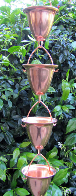 Stanwood Rain Chain: 2-ft Extension Copper Rain Chain Large Cups