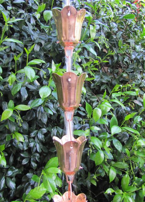Stanwood Rain Chain: 2-ft Extension Copper Rain Chain Tulip