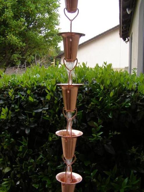 Stanwood Rain Chain: 2-ft Extension Copper Rain Chain Funnel Shape