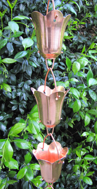 Stanwood Rain Chain - Copper Rain Chain Tulip Flower Blossom 8-ft