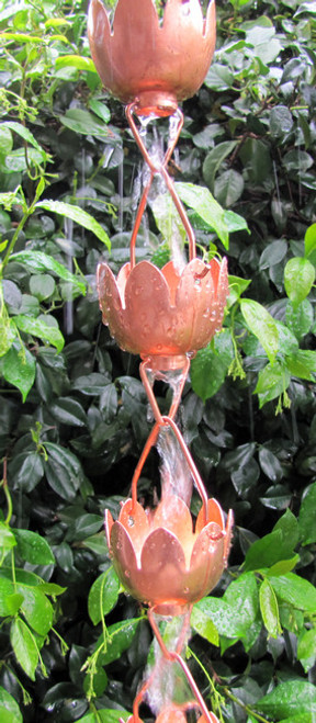 Stanwood Rain Chain - Copper Rain Chain Lotus Lily Flower 8-ft