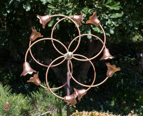 Cyber Monday Special: Stanwood Wind Sculpture: Kinetic Copper Dual Spinner - Tumbling Flowers