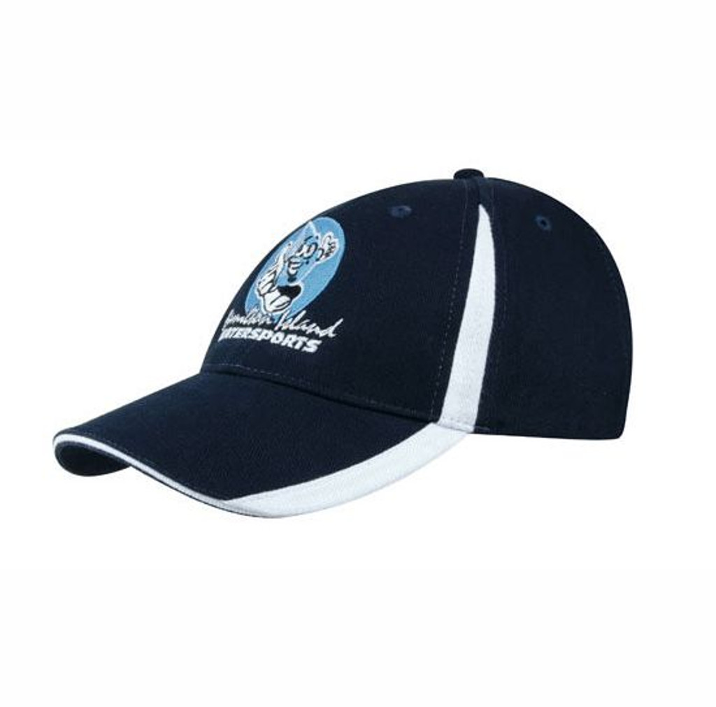 Brushed heavy cotton cap with Inserts on the peak