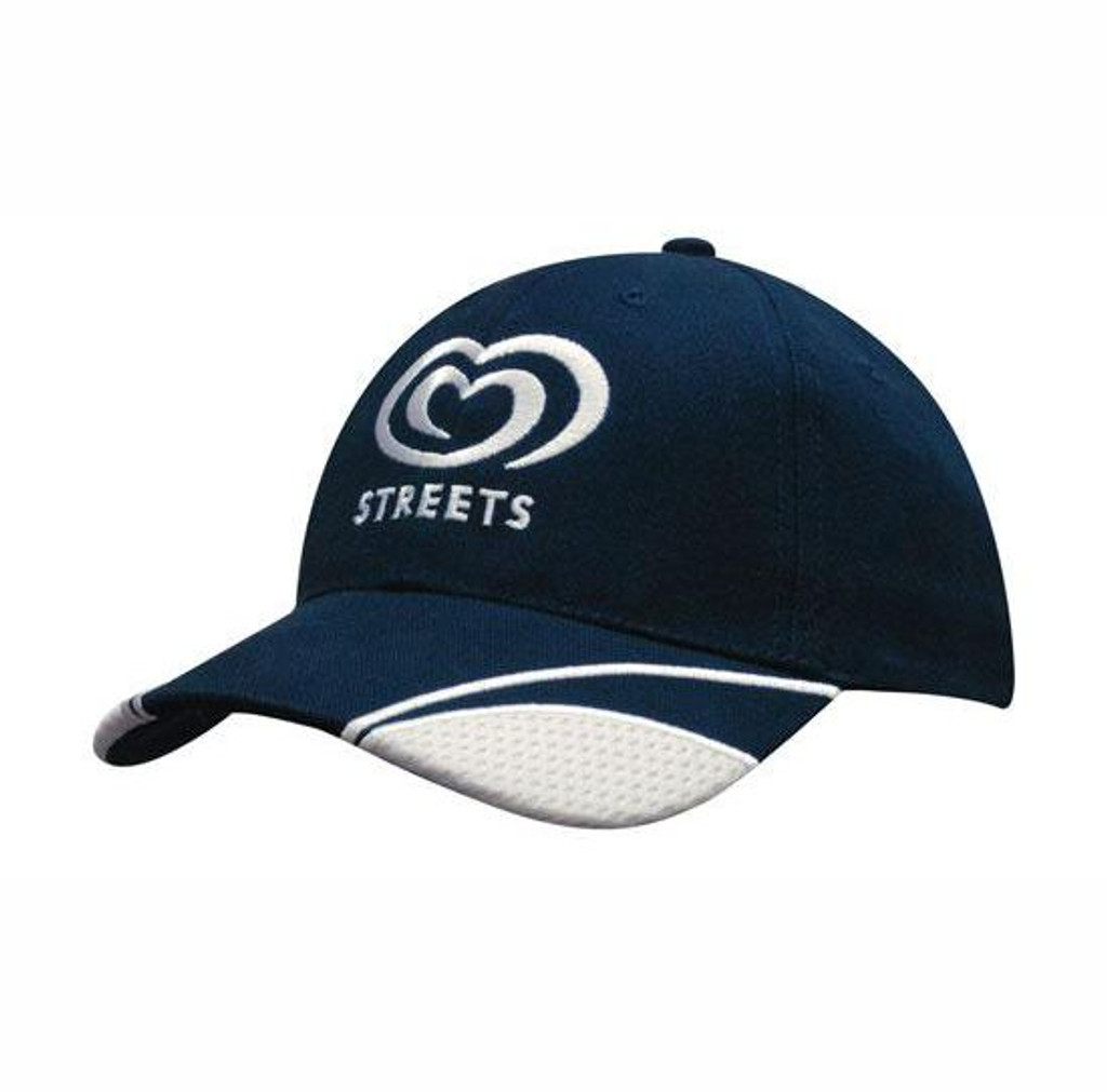 Brushed heavy cotton cap with mesh inserts on peak