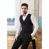 Peaked Mens Vest with Knitted Back