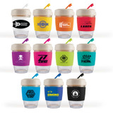*NEW* Glass Coffee Cup / Silicone Band with Eco Lid