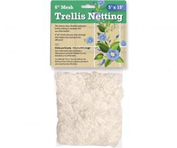 "Trellis Netting 6"" Mesh 5'x15' White (Hydrofarm)"