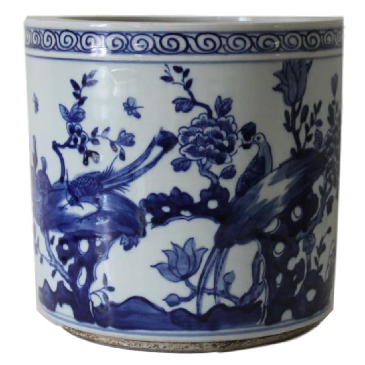 Blue White Chinoiserie Bird Planter The Silver Oyster