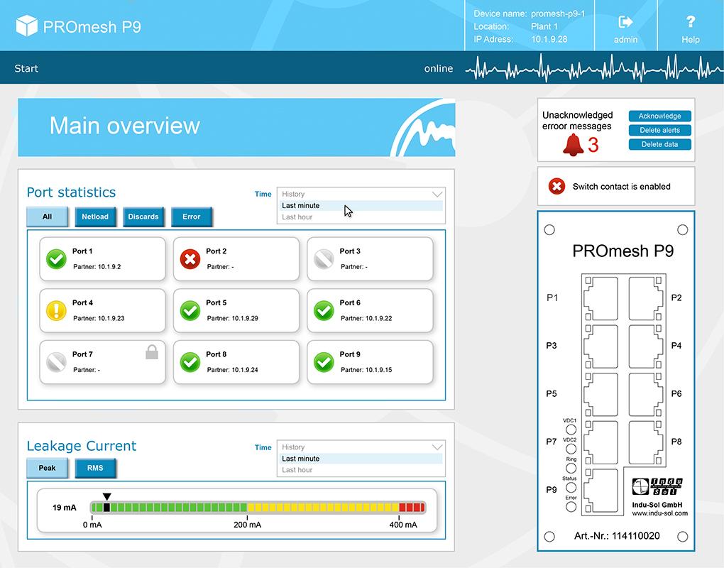 PROFINET Switch Web Interface