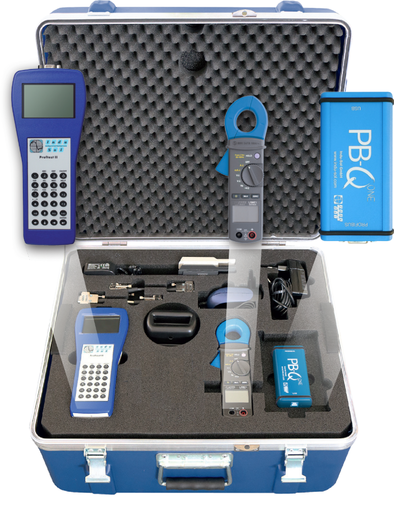 The InduSol PROFIBUS Diagnostic II Set includes the PB-Q ONE, EMCheck LSMZ I, and PROFtest XL II