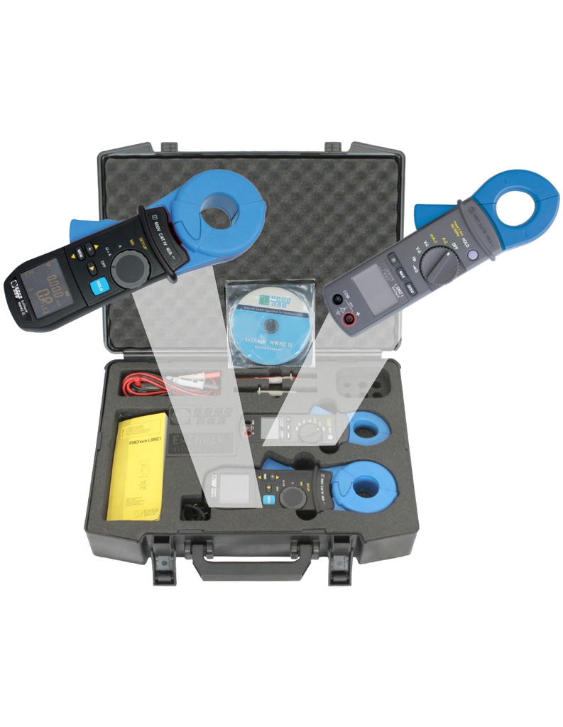 EMCheck Current Clamp Set includes InduSol's mesh resistance clamp, MWMZ II (122010020), and the leakage current clamp, LSMZ I (12201005)