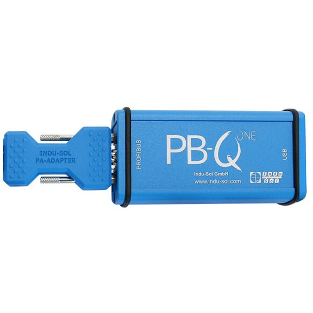InduSol's PROFIBUS Troubleshooting and diagnostic tool, PB-Q ONE, with the PROFIBUS PA Adapter attached