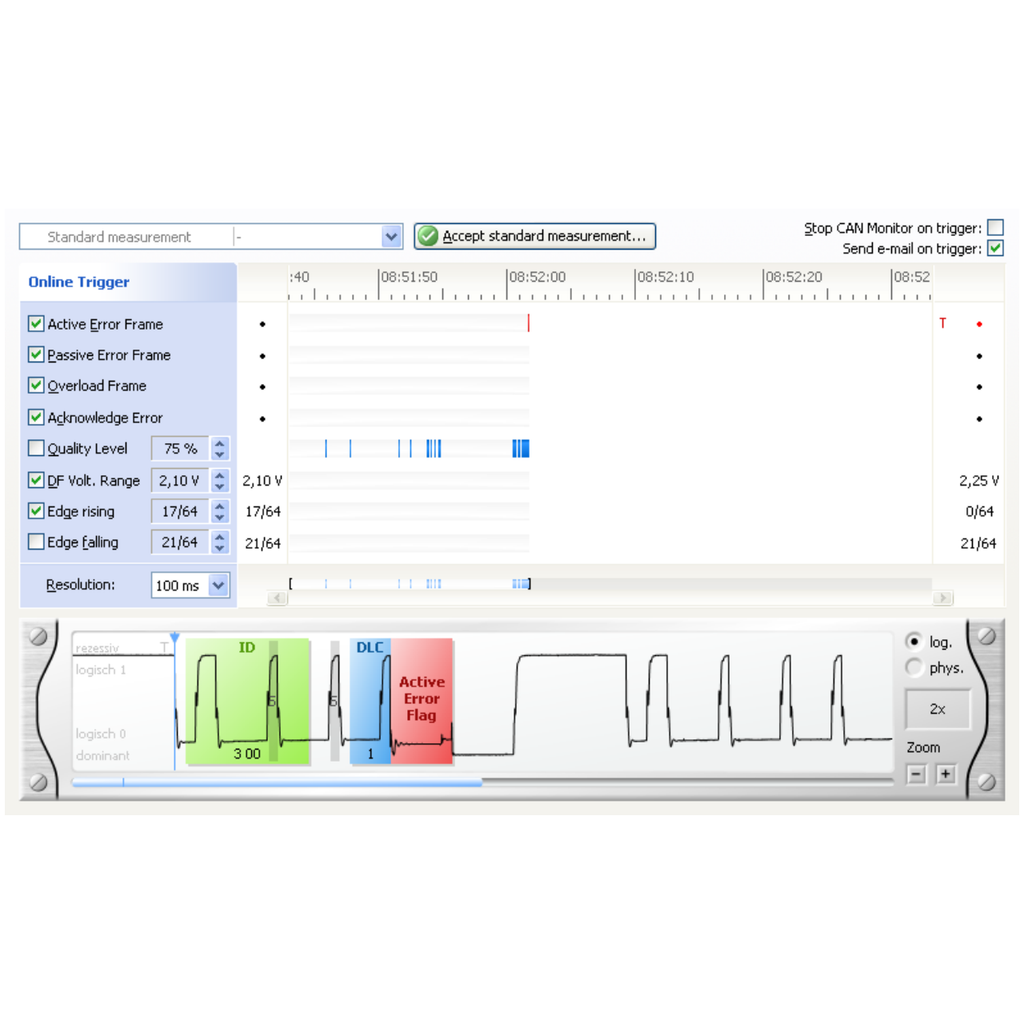 The CANBUSview XL III online monitory - Measurement Online Trigger has stopped on error