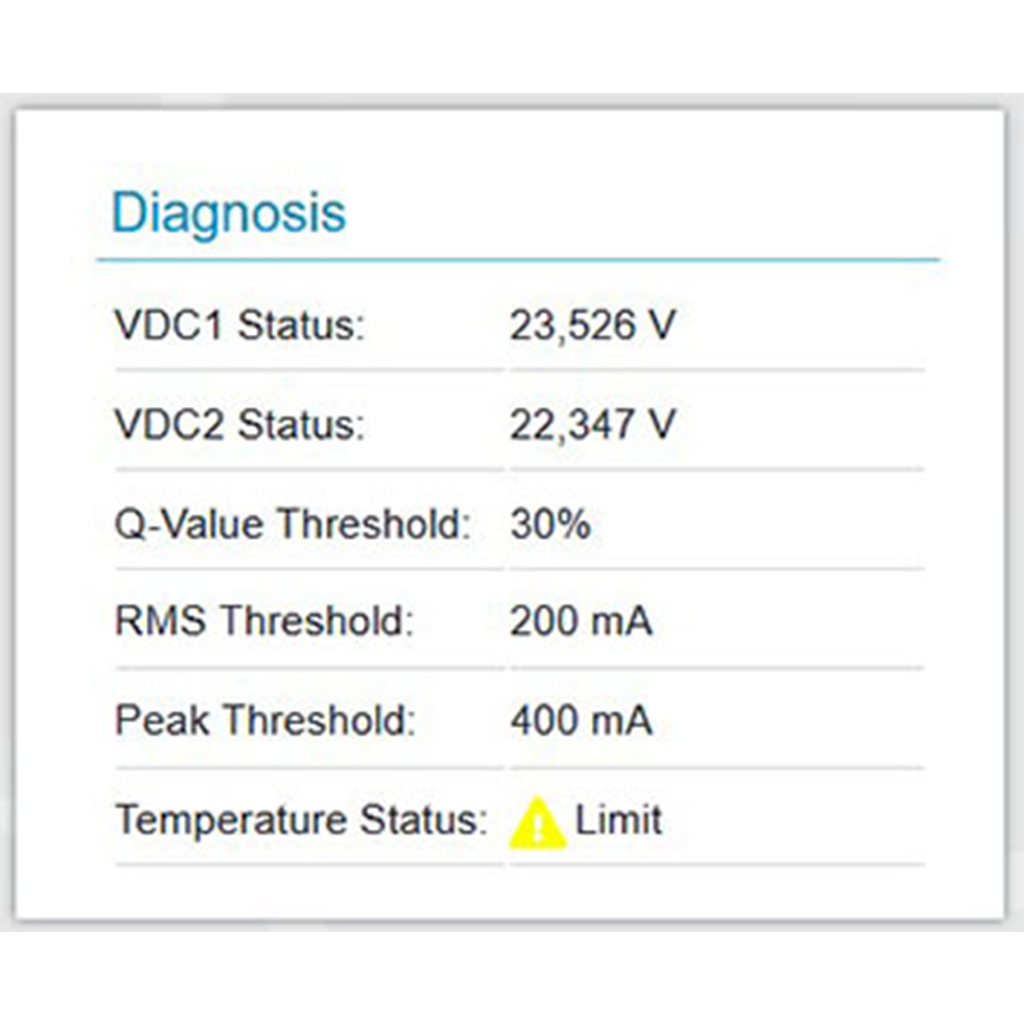 Web interface of the PROmesh P10X's temperature and 24V Voltage monitoring and diagnostics