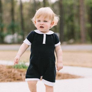 Pique Collared Knit Shortall